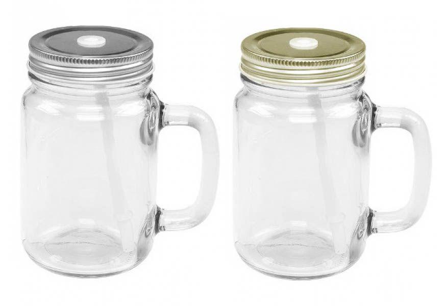Caneca de Vidro com Tampa Metalizada - 200 ml