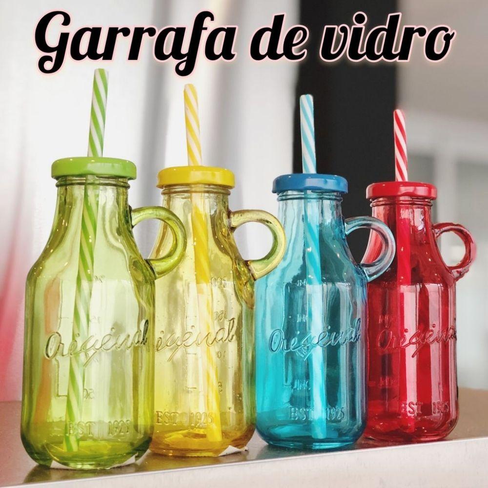 Garrafa de Vidro Com Canudo 400 ml