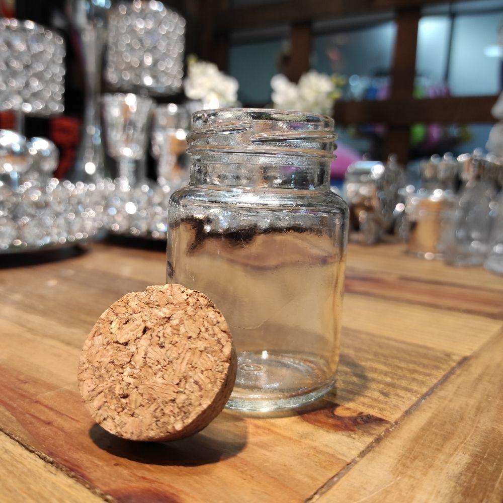 Kit 10 potes de vidro tampa rolha 80 ml + 10 etiquetas