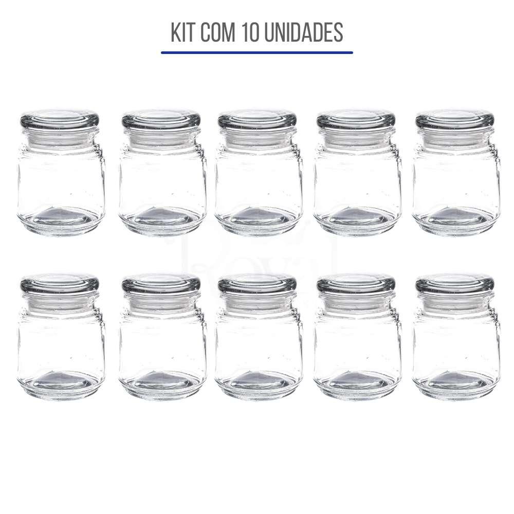 Kit 10un Pote de Vidro com Tampa Hermética Gominho 140ml - 10 unidades