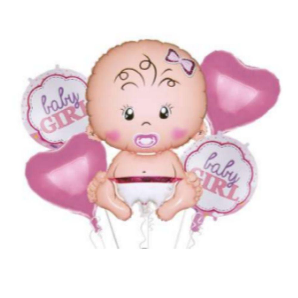 Kit Balões Chá de Bebê Rosa / 5 Unidades