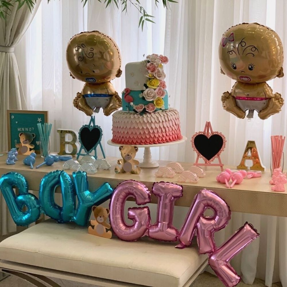 Kit Balões Metalizados Chá de Bebê - Girl + Bebê - Decoraço para Chá Revelação - Chá Menina