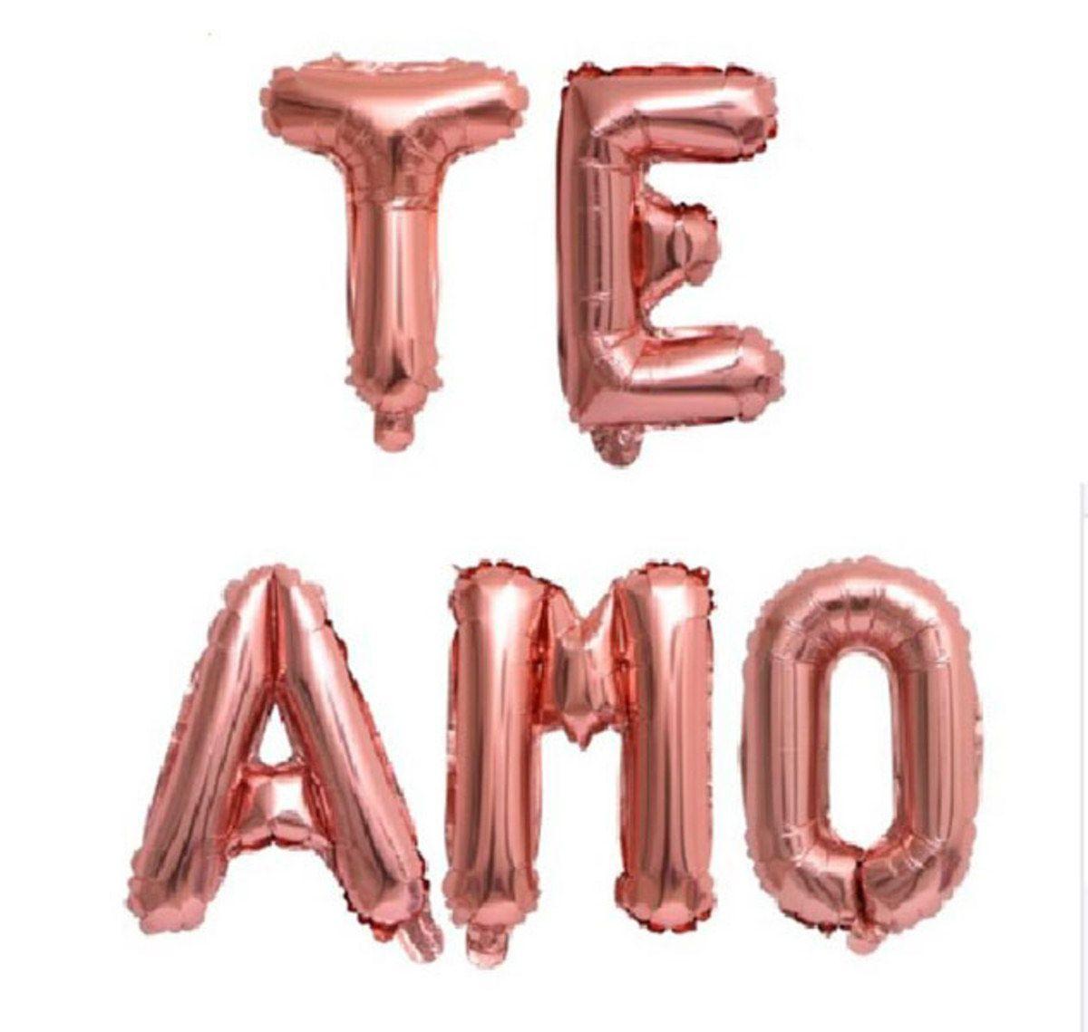 Kit Balões Metalizados `Te Amo`Rose Gold