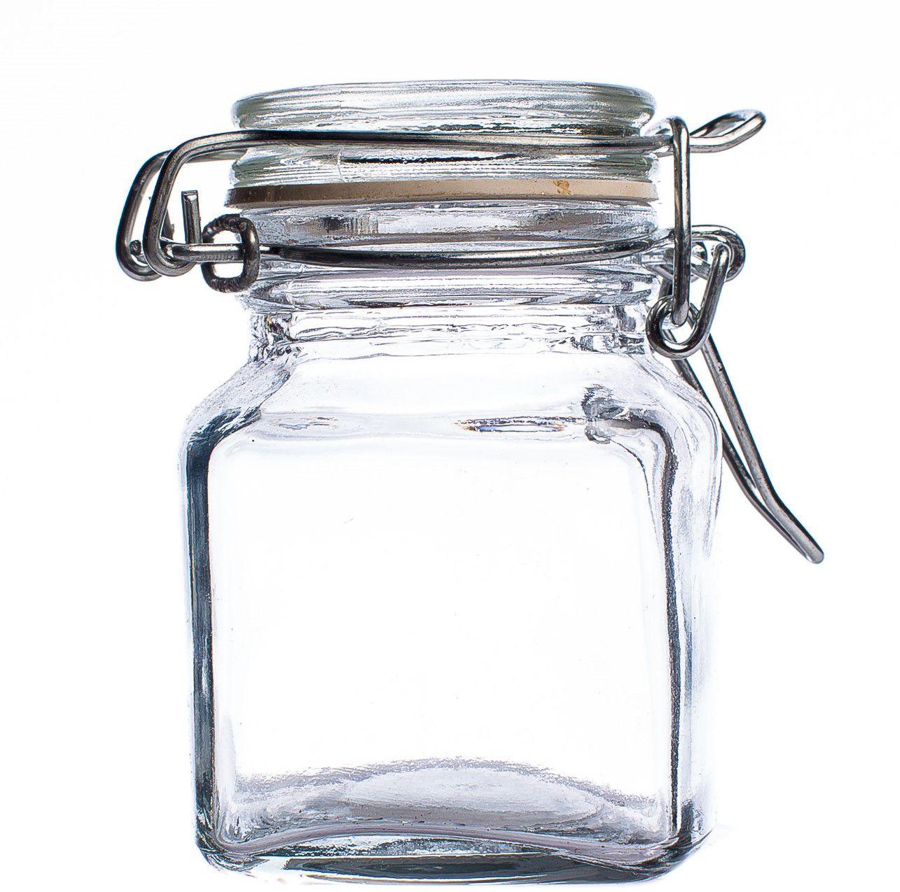 Pote de Vidro Quadrado com Tampa Hermética 100 ml