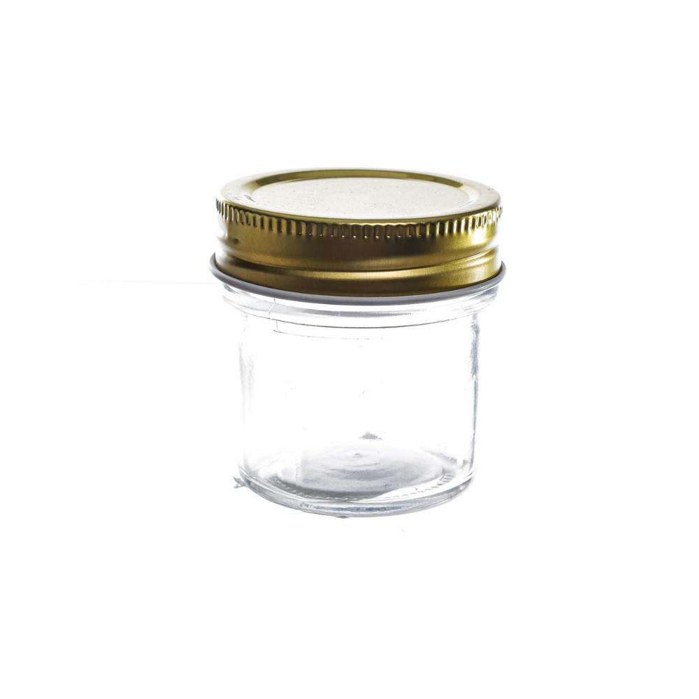 Pote de Vidro Redondo Com Tampa de Rosca Metálica 80 ml