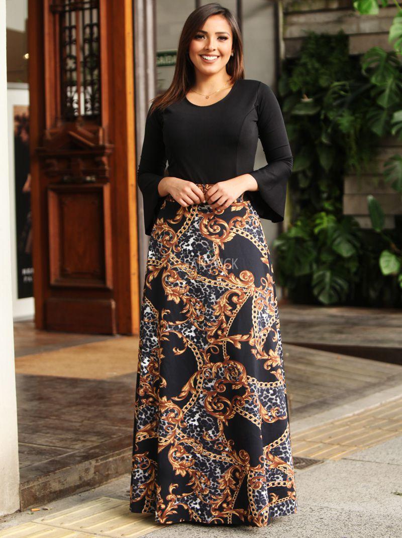 faf8c0a27a Saia Longa Joya Negra - Sansvick Store - Moda Evangélica e Executiva
