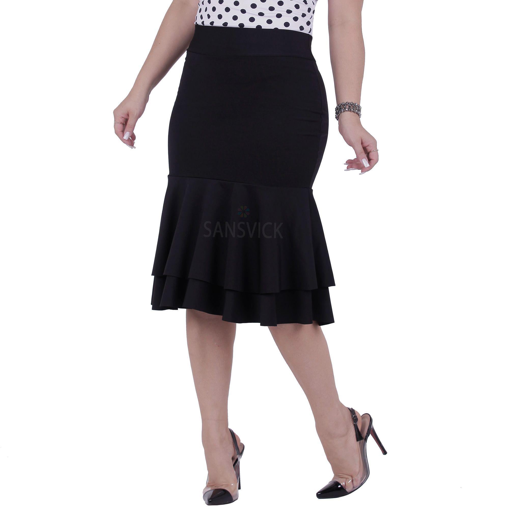 59fa7940bf Saia Midi Babado Duplo Elegance - Sansvick Store - Moda Evangélica e ...