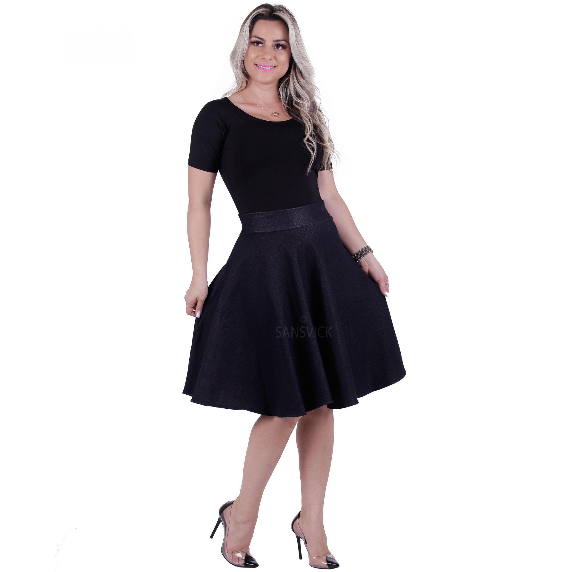 e6e8f99d86 Saia Midi Cotton Jeans - Sansvick Store - Moda Evangélica e Executiva