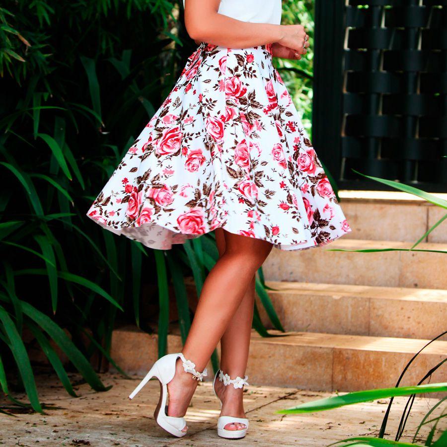 83be11c372 Saia Midi Godê Rosas - Sansvick Store - Moda Evangélica e Executiva