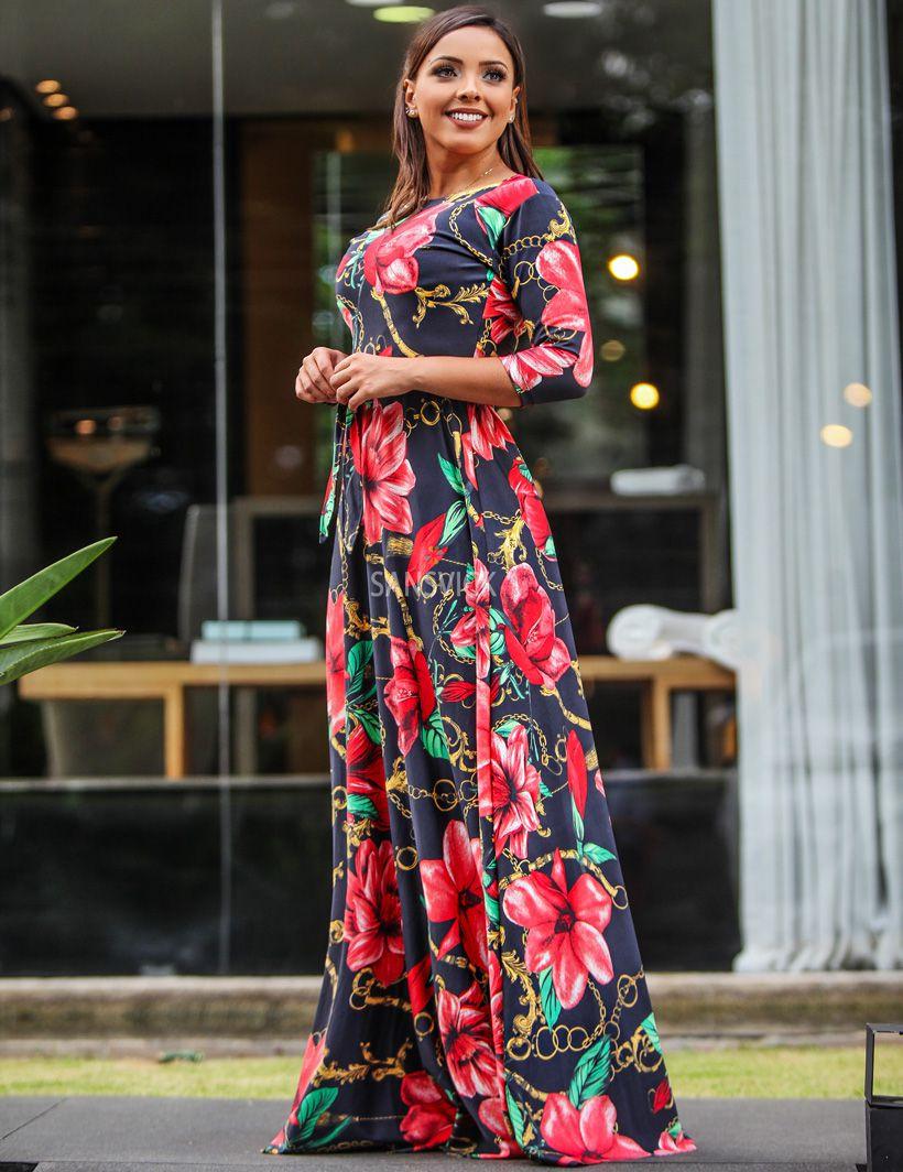 19c63d1dc2 Vestido Longo Bella Floral Preto - Sansvick Store - Moda Evangélica ...