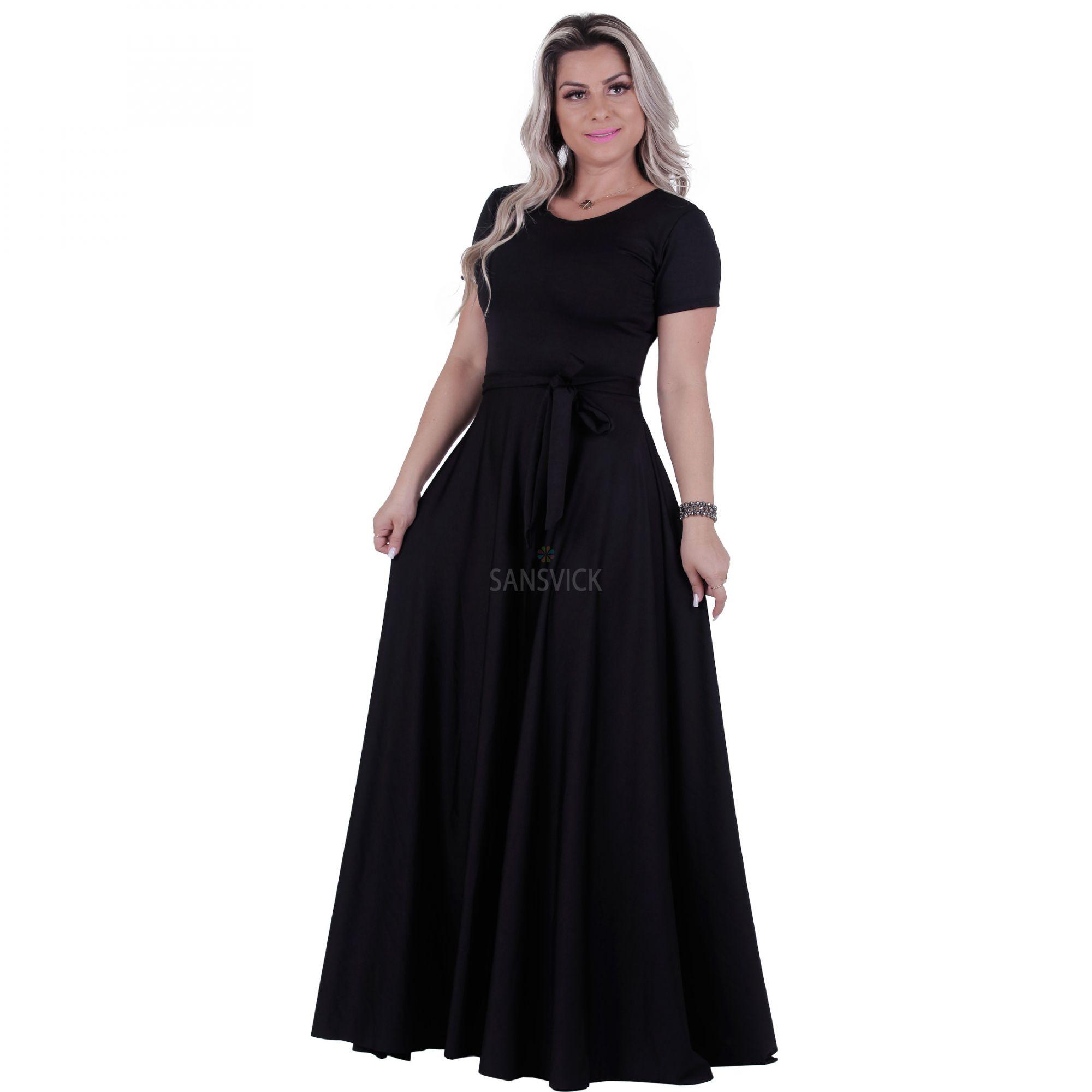5bea535d5c Vestido Longo Preto - Sansvick Store - Moda Evangélica e Executiva