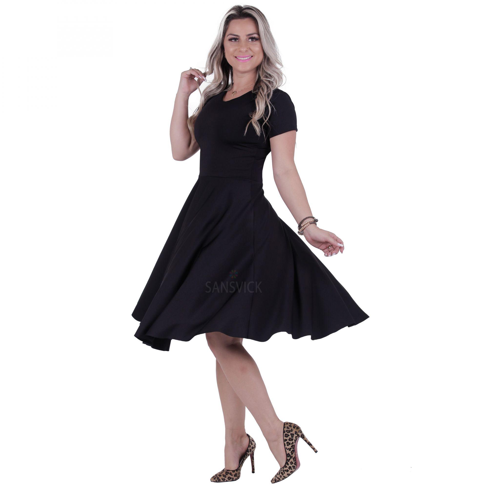 f519638f8ffe Vestido Midi Godê Preto com Cinto - Sansvick Store - Moda Evangélica ...