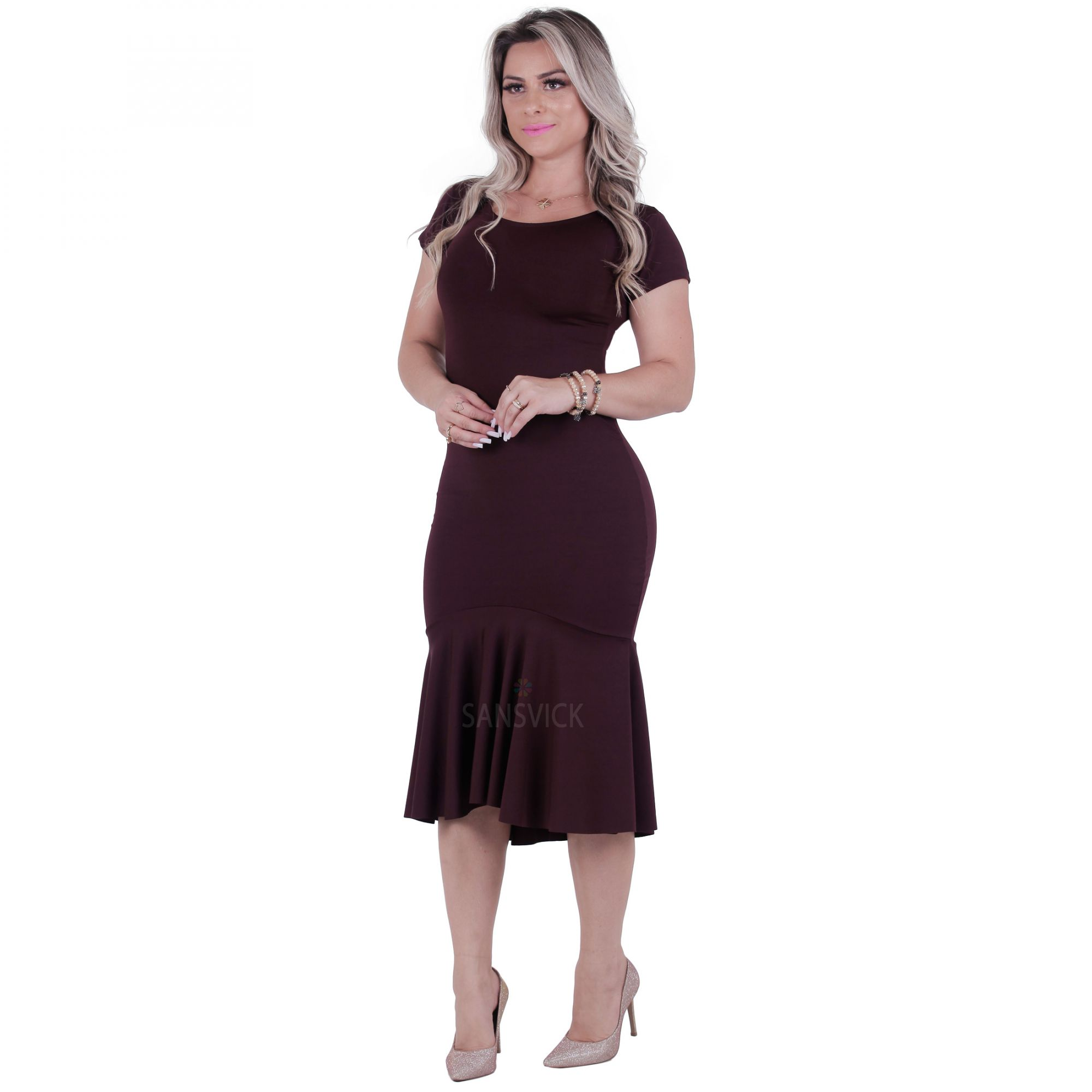 9e6a3dded0 Vestido Sereia Beterraba - Sansvick Store - Moda Evangélica e Executiva