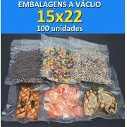 Embalagens a Vácuo lisa (sem ranhuras) 15x22 - 100 unidades