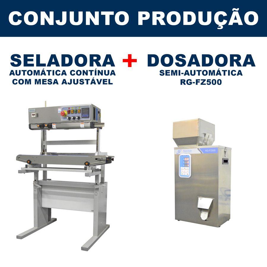 Dosadora e Seladora Automática (RG-FM500 - RG-1000 vertical com mesa)
