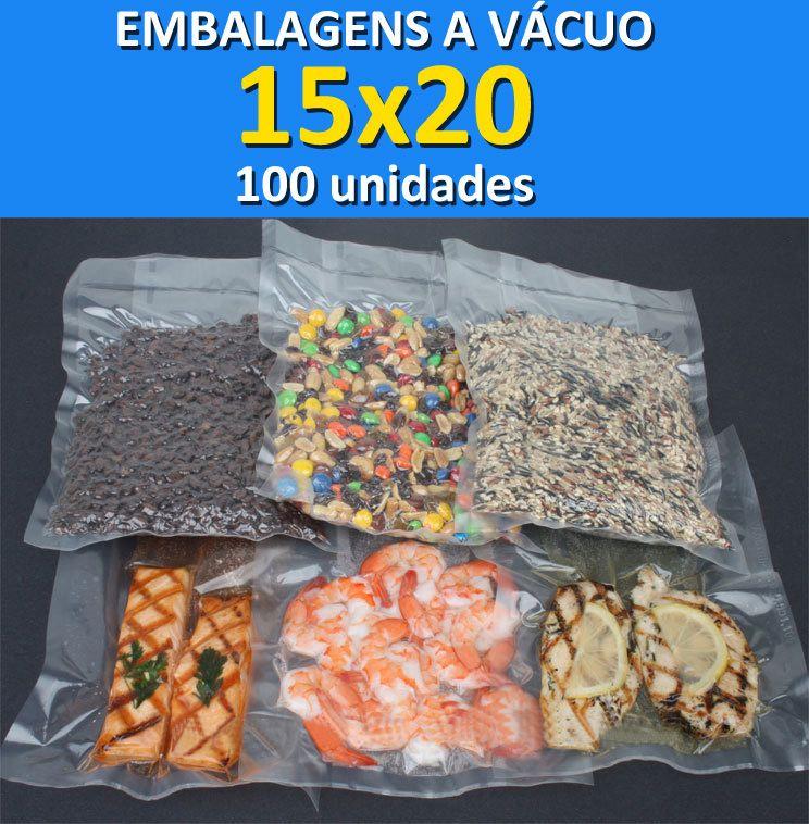 Embalagens a Vácuo lisa (sem ranhuras) 15x20 - 100 unidades