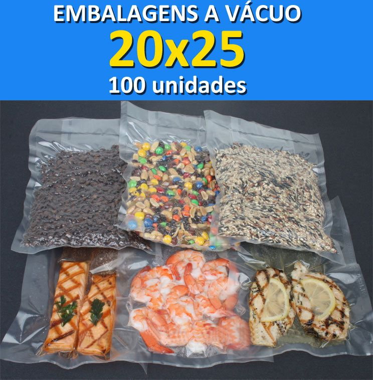 Embalagens a Vácuo lisa (sem ranhuras) 20x25 - 100 unidades