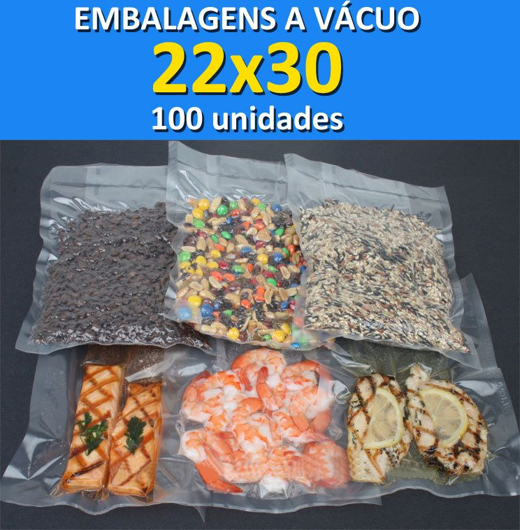 Embalagens a Vácuo lisa (sem ranhuras) 22x30 - 100 unidades