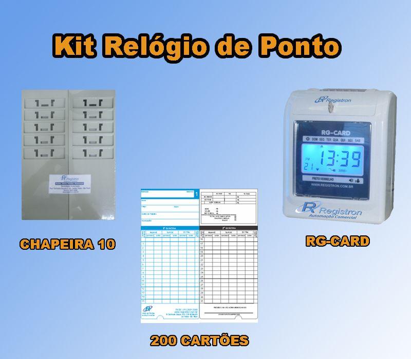 Relógio de Ponto RG-CARD + Chapeira de 10 + 200 Cartões