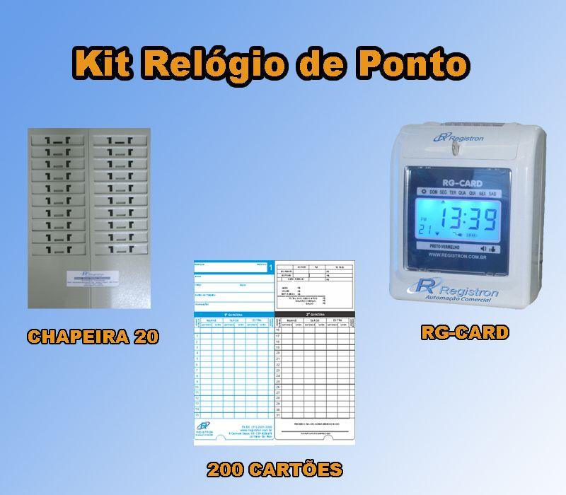 Relógio de Ponto RG-CARD + Chapeira de 20 + 200 Cartões