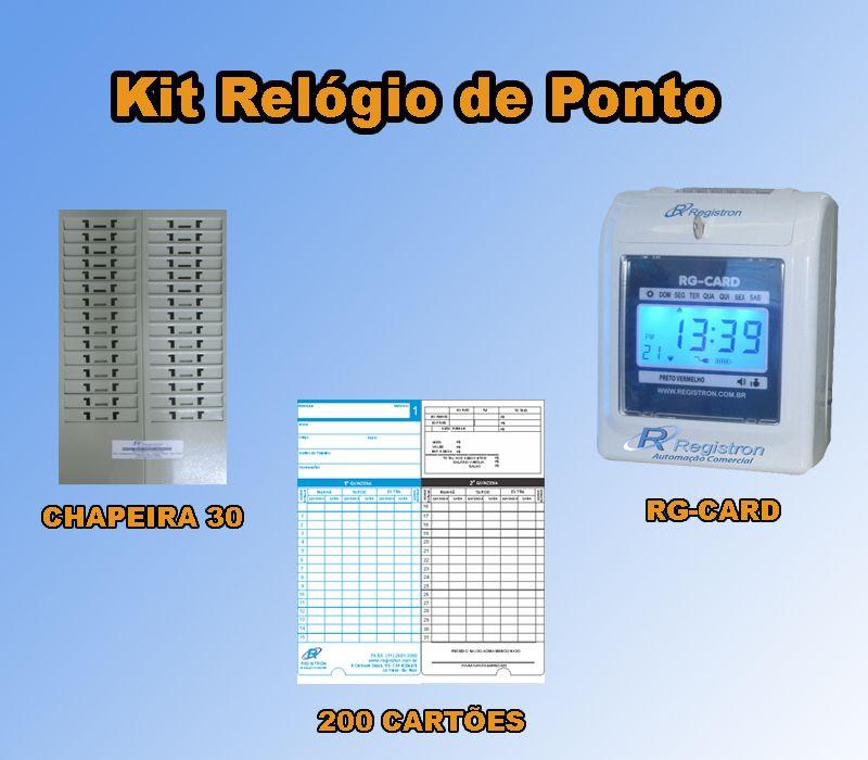 Relógio de Ponto RG-CARD + Chapeira de 30 + 200 Cartões