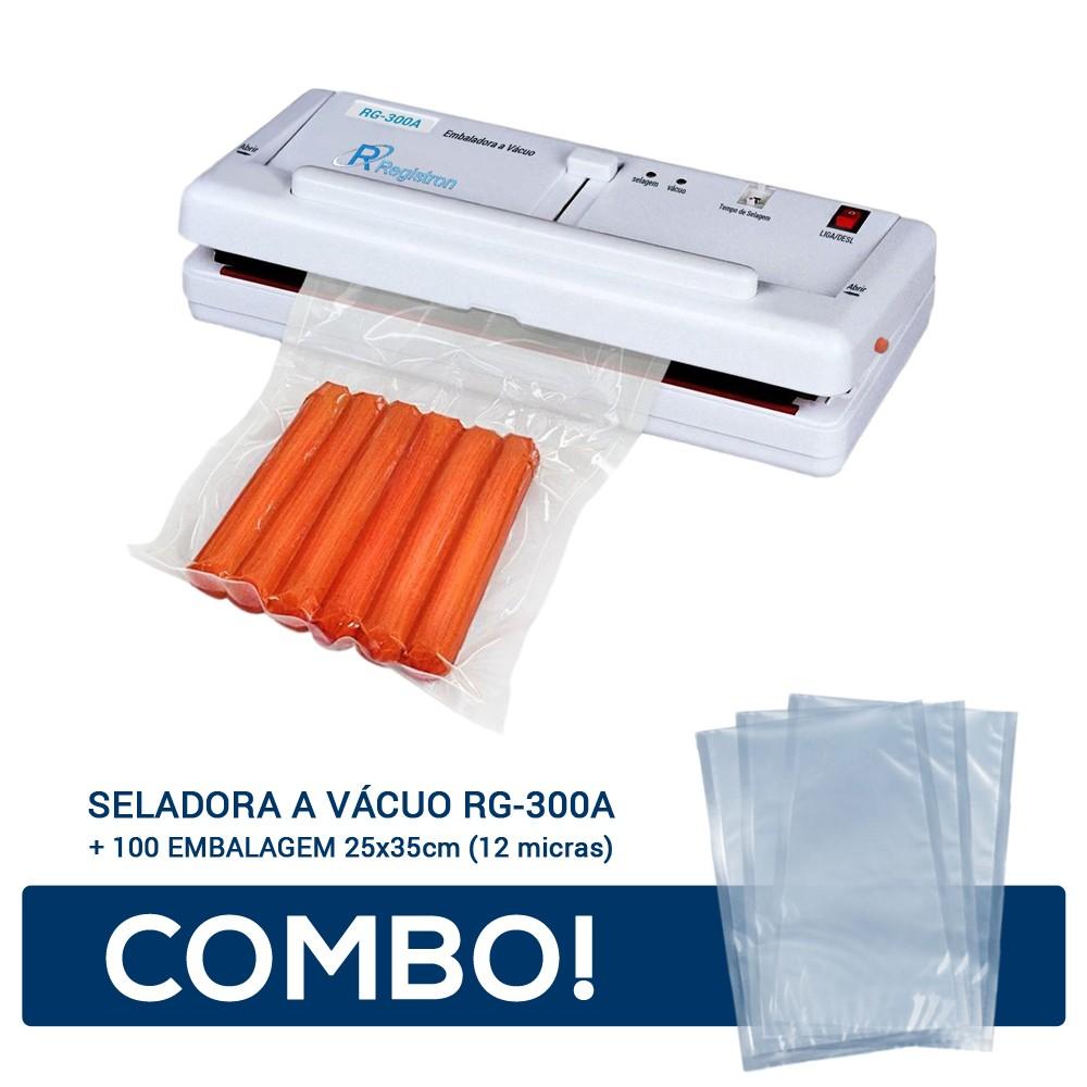 Seladora a Vácuo RG-300A + 100 Embalagem 25x35 - 12 micras