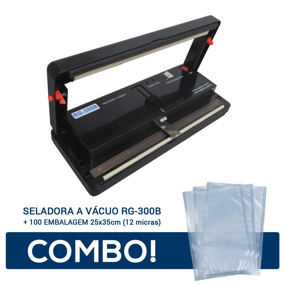 Seladora a Vácuo RG-300B + 100 Embalagem 25x35 - 12 micras