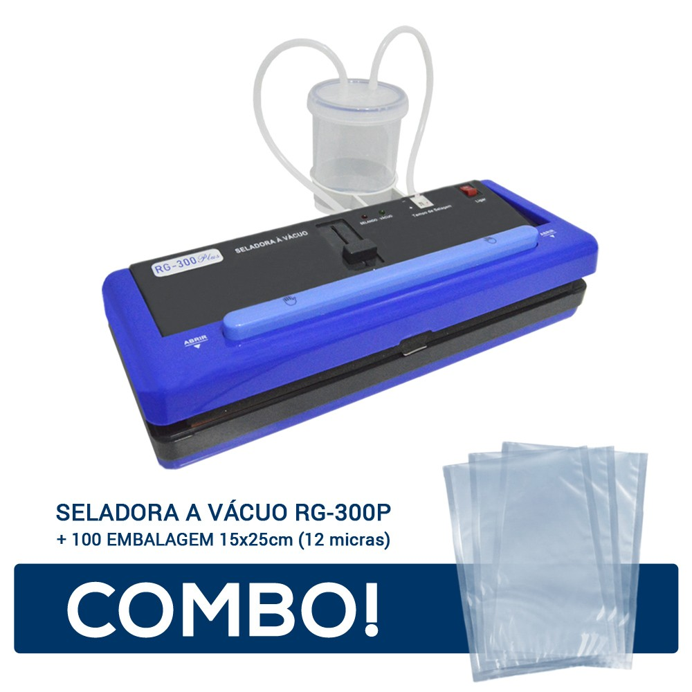 Seladora a Vácuo RG-300P + 100 Embalagem 15x25 - 12 micras