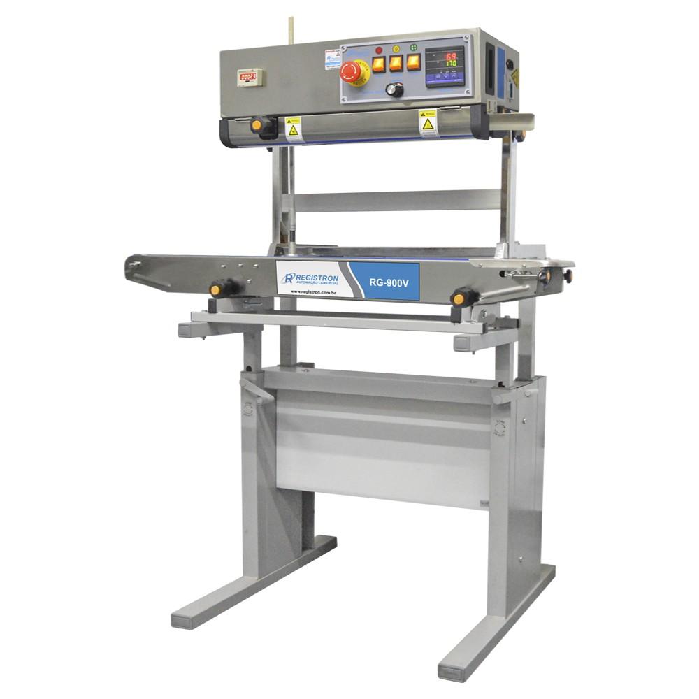 Seladora Automática Contínua Vertical Em Inox Com Mesa Ajustável RG-900V