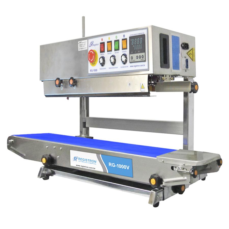 Seladora Automática Contínua Vertical  Com Datador Em Inox RG-1000V