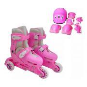 Patins Infantil Menina 3 Rodas Ajustável + Kit Proteção