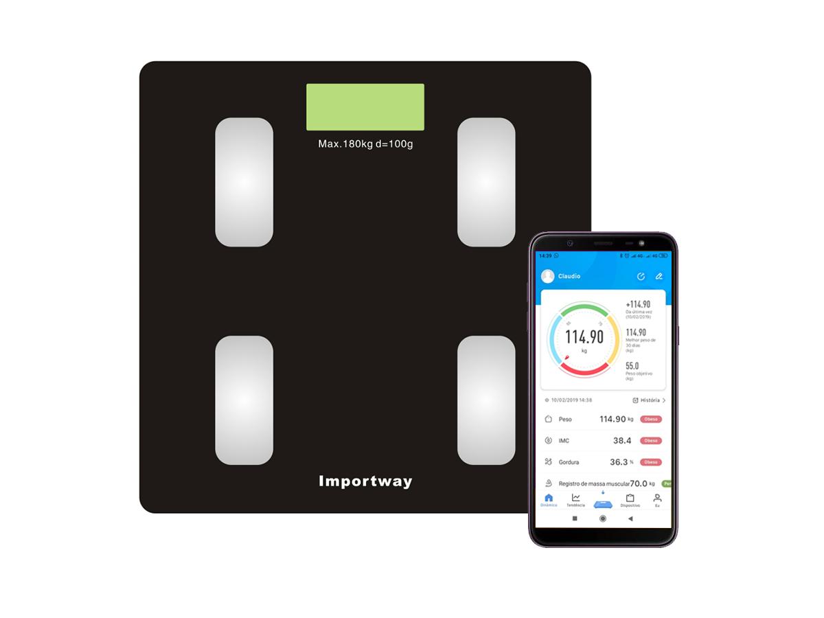 Balança de Bioimpedância Digital Bluetooth Peso Corporal até 180Kg