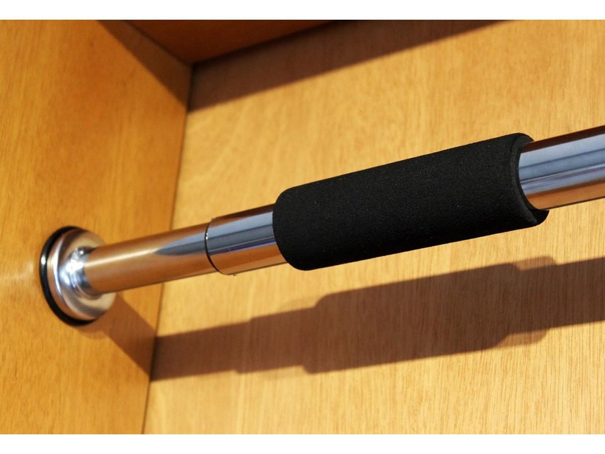 Barra De Portas Ajustável Para Exercícios Cromada 62 a 100cm