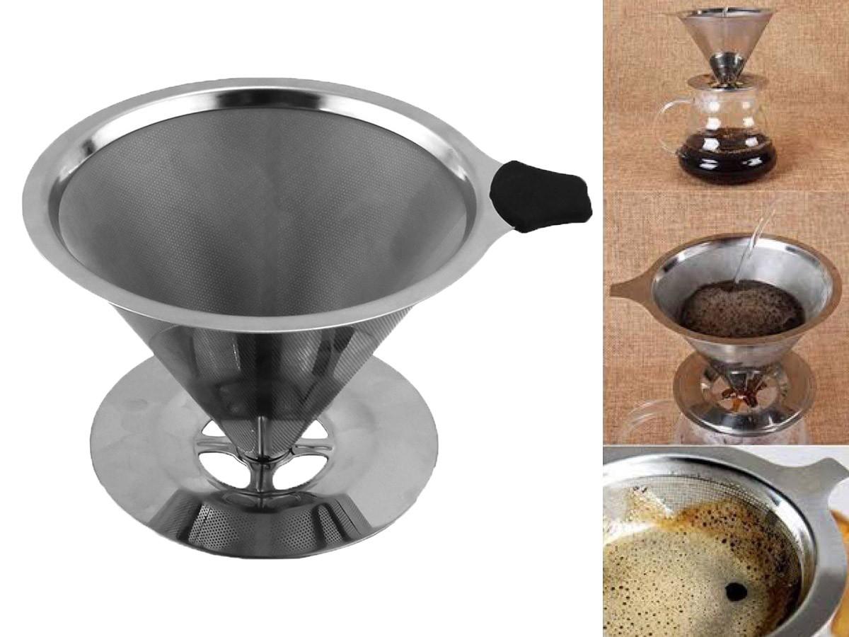 Coador Filtro Café Inox Reutilizável Sem Filtro 11,5 x 8,5cm