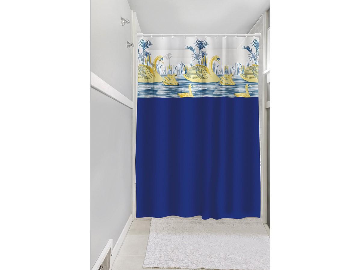 Cortina Box Banheiro 1,35x2,00 C/ Visor e Ganchos - Cisne