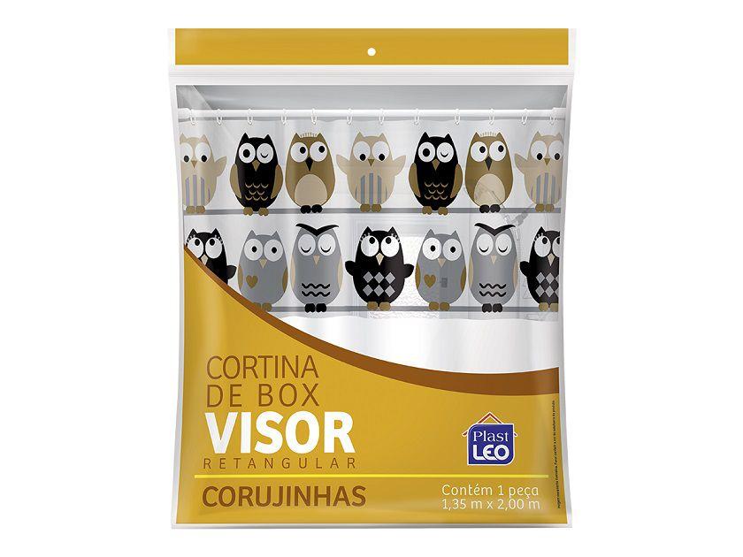 Cortina Box Banheiro 1,35x2,00 C/ Visor e Ganchos - Corujas