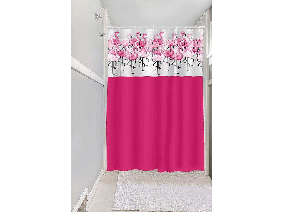 Cortina Box Banheiro 1,35x2,00 C/ Visor e Ganchos Flamingos