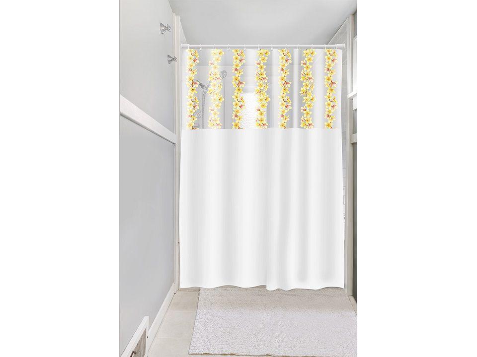 Cortina Box Banheiro 1,35x2,00 C/ Visor e Ganchos - Flores