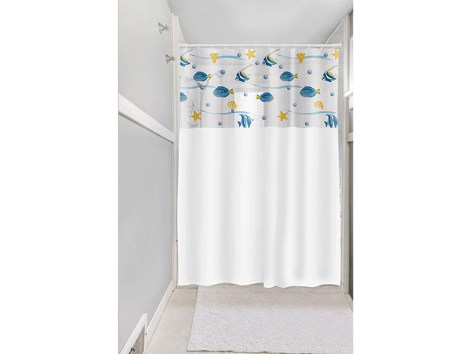 Cortina Box Banheiro 1,35x2,00 C/ Visor e Ganchos - Peixes