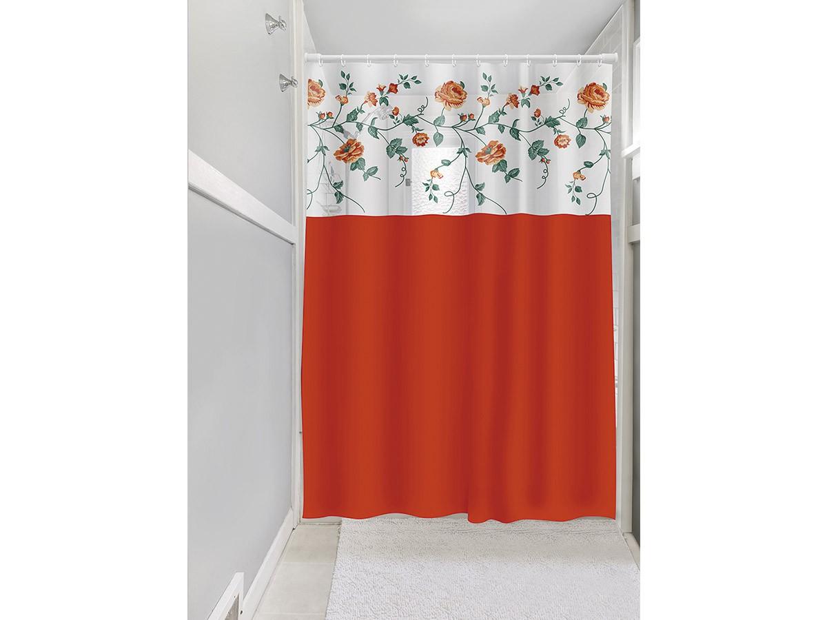 Cortina Box Banheiro 1,35x2,00 C/ Visor e Ganchos - Rosas