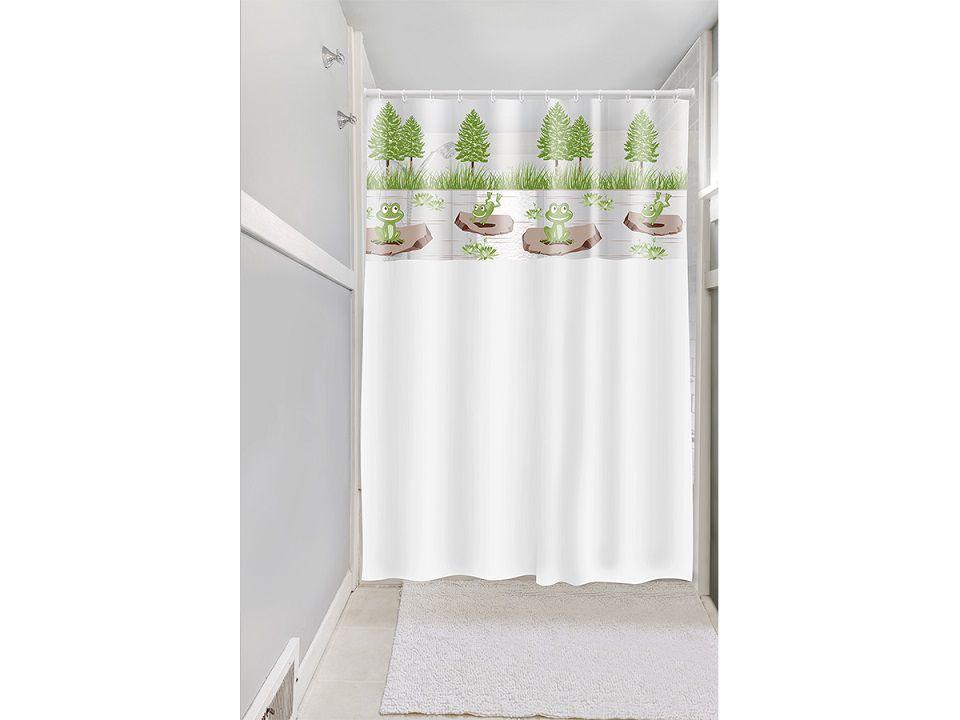 Cortina Box Banheiro 1,35x2,00 C/ Visor e Ganchos - Sapo