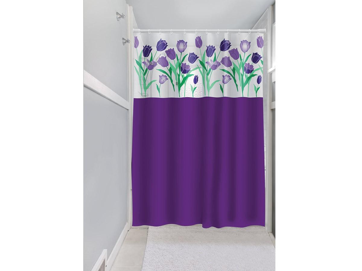 Cortina Box Banheiro 1,35x2,00 C/ Visor e Ganchos - Tulipa