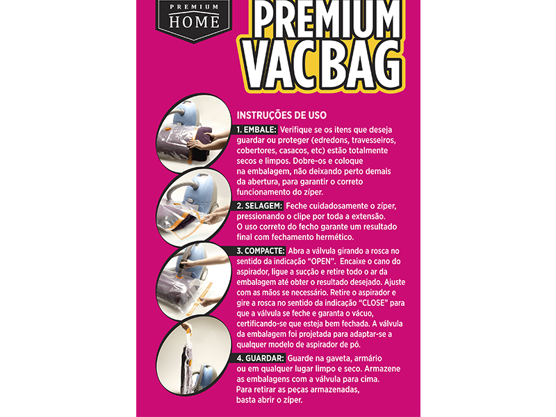 Kit 06 Saco À Vácuo Premium Vac Bag Organizador Médio 45x60