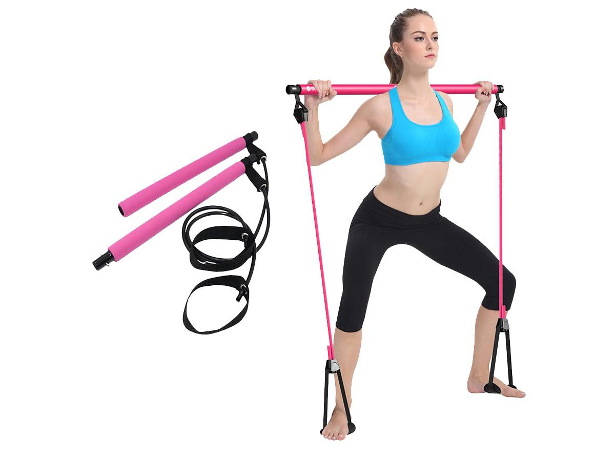 Kit Portátil De Treino Pilates E Yoga Com Barra e Elástico