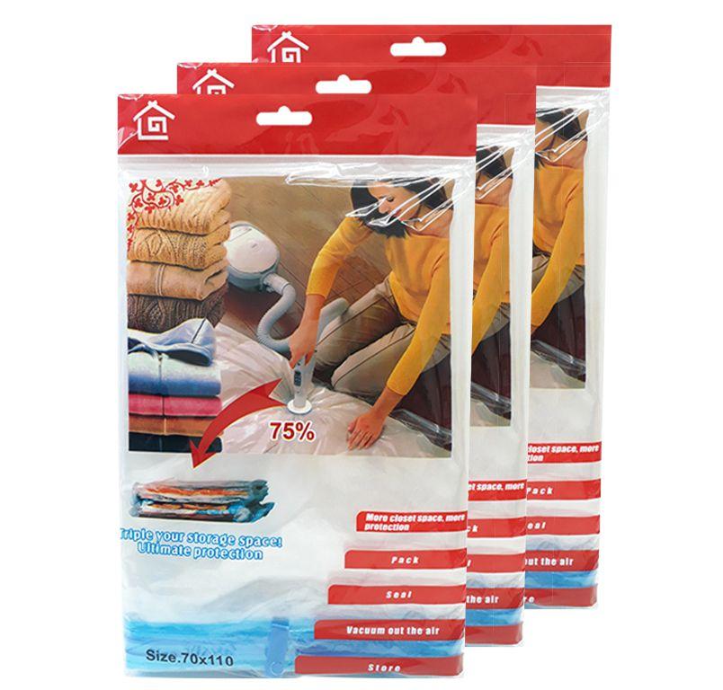 Kit 3 Sacos a Vácuo Organizador de Roupas Edredom Closet 110cm x 70cm