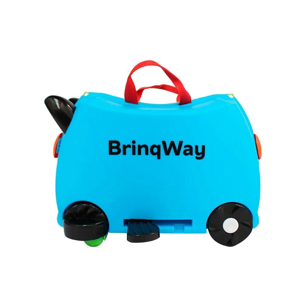 Mala Infantil Carrinho C/ Puxador Rodinha Escola Viagem Azul