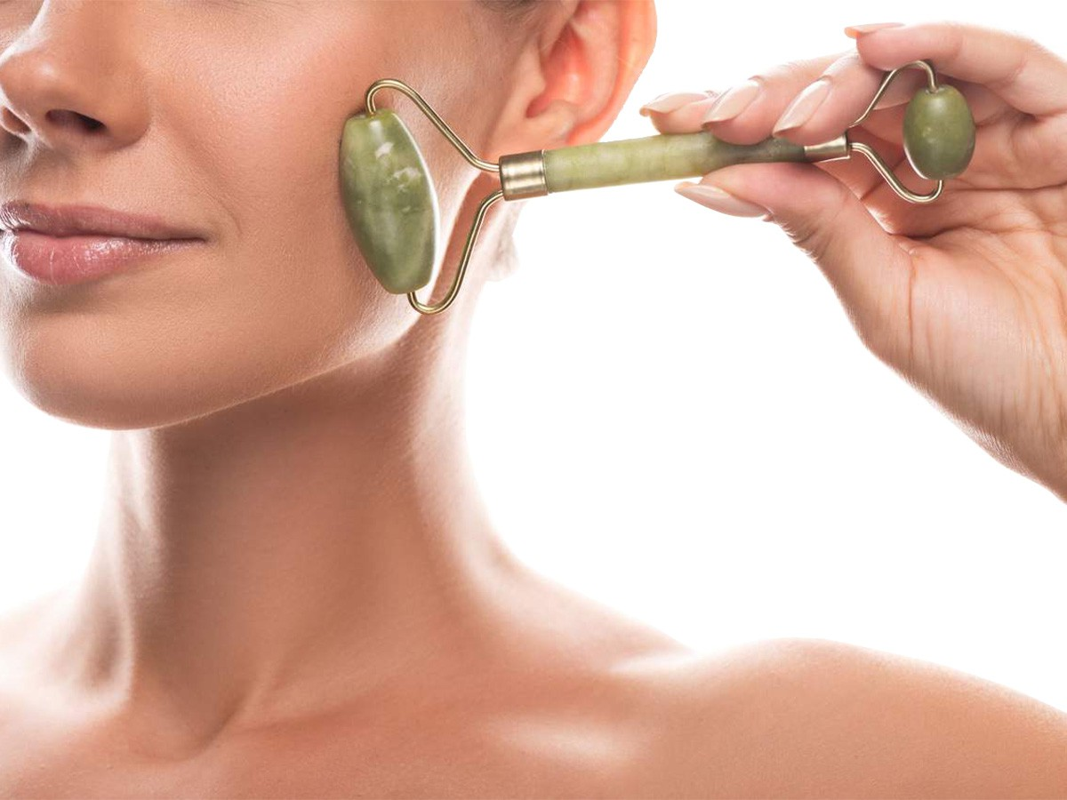 Massageador Facial Pedra Jade Face Roller Anti Estresse