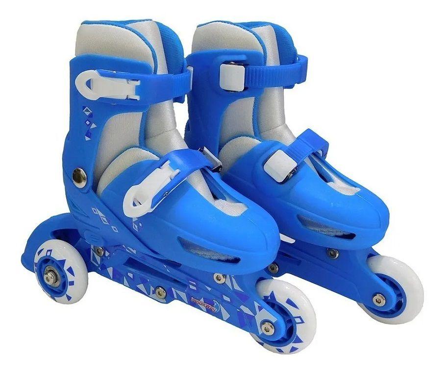 Patins Infantil Menino 3 Rodas Ajustável Inline Triline Azul