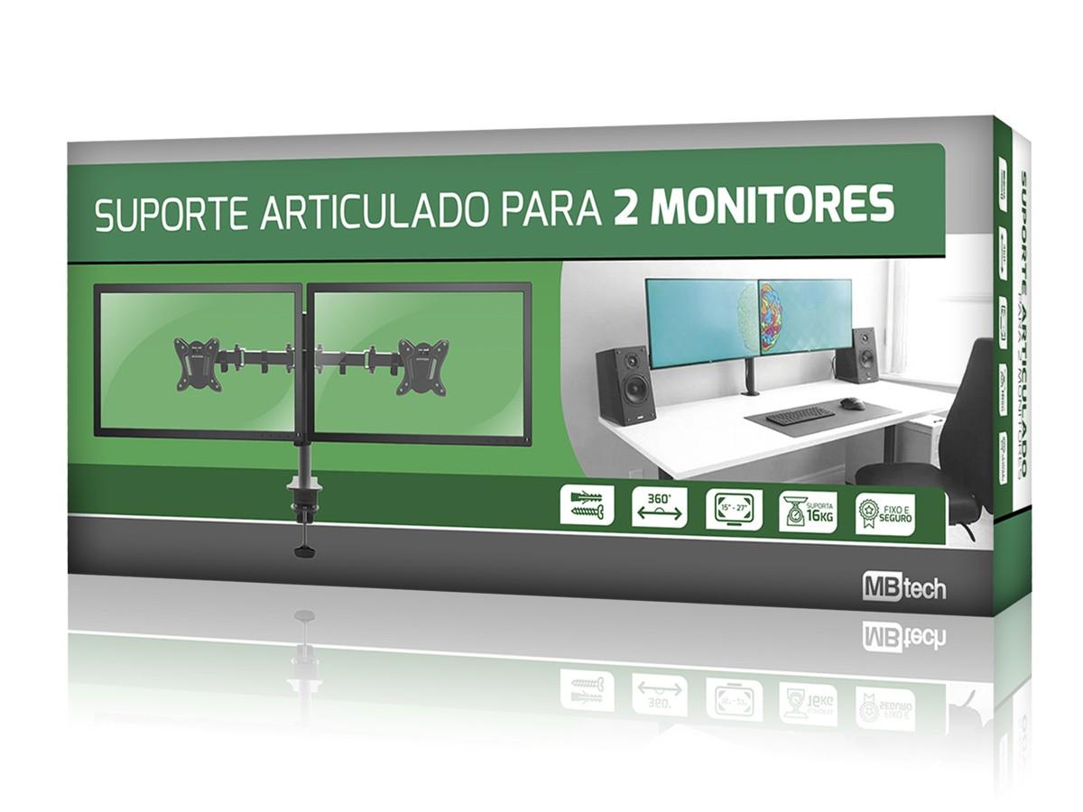 "Suporte Monitor / Tv Duplo De Mesa Articulado 15"" a 27"" 16kg"