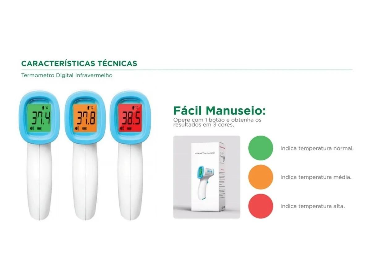 Termômetro Digital Laser Infravermelho Medidor Febre Testa